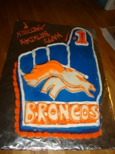 Well, someone must be a big Broncos fan. Yet, I do think the lettering is quite charming.