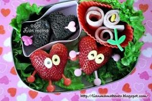 The strawberries even have eyes and limbs. There are also heart treats and flowers.