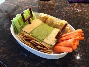 It also features healthy choices like carrots and celery. The dip includes guac, too.