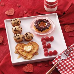 "This one consist of muffins, a donut, a pancake, and raspberries. But it all spells, ""Love."""
