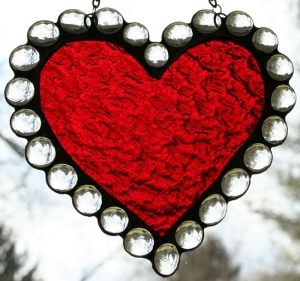 Well, it's certainly a valentine heart all right. Love how the glass around it makes up the lace.