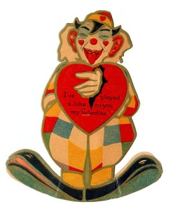 Okay, this clown makes the Joker seem like the guy you'd want to bring to a kid's birthday party. Even more disturbing is how he has his hand sticking out of the heart. Creepy.