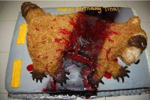 Now this is disgusting. Seriously, a roadkill cake? Why the fuck would anyone want that for their birthday? What the fuck?