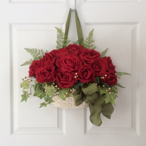 This is called a rose wreath. But it's not a rose wreath. It's roses in a basket. Know the difference.