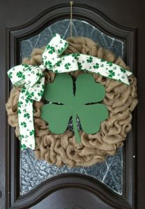 If you like wreaths and don't care for the fancy stuff, this is for you. Just consists of a burlap wreath, a shamrock ribbon, and a wooden 4-leaf clover.