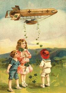Yes, I know it looks ridiculous. But blimps have appeared on a variety of greeting cards during this period. Not sure why.