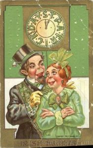 Now this couple looks rather cartoonish. Guess card designers of the time couldn't resist putting in Irish stereotypes after all.