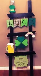 "Includes rainbow, shamrock, and a beer mug. Still, might bring you luck with ""Irish You Were Beer."""