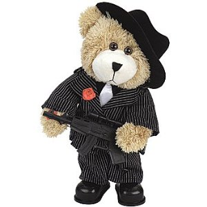 This gangster bear has his own machine gun and even that doesn't keep you wanting to hug him. Though he does know how to dress.