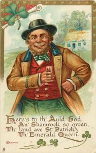 Hmm...a jolly Irish guy dressed like a leprechaun with a glass of booze. Not something I've seen before (sarcasm).