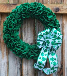Well, not sure what it's made from exactly. Probably burlap. But the shamrock ribbon adds a nice touch.