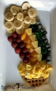 Includes scrambled eggs, fruit rainbow, and banana slices. At any rate, your kids would love it.