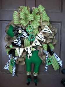 Of course, you don't see all of the leprechaun. But this is a rather charming wreath nonetheless.