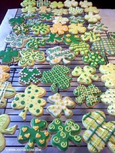 As you can see, these shamrocks are certainly professionally made. But they're all in patterns consisting of green, yellow, and white.
