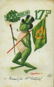 I have no idea what the frog has to do with Saint Patrick's Day. Is it because it's green. Other than that, not much else.