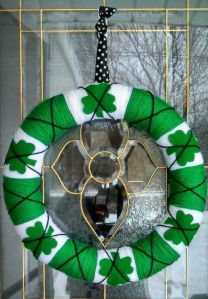 Yes, this is another yarn wreath with shamrocks. But this one has fewer and is in a different green shade.