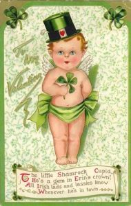 For the love of God, Cupid, Valentine's Day is over. Seriously, what the hell are you doing on a card for St. Patrick's Day. It's not your holiday.