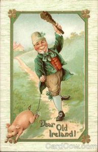 Yet, this guy happily wields his club when he's walking his pig. No, I don't think Irishmen are like this.