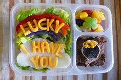 Now this is quite adorable. Love what it says in cheese on the pepper rainbow salad.