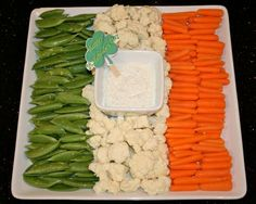 This one is of the flag of Ireland including green beans, cauliflower, and carrots. Has the white dip in the middle.