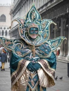 Either way is a mystery. But yes, some do wear partial masks at the Venice Carnival. And some not at all.