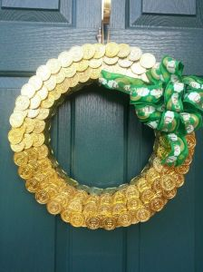 Or in gold coins made from plastic used to decorate this wreath. But it's quite creative and appropriate.