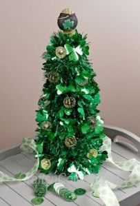 Also, has to be decorated with shamrocks and fake gold coins, too. By the way, this was made from tinsel garland.
