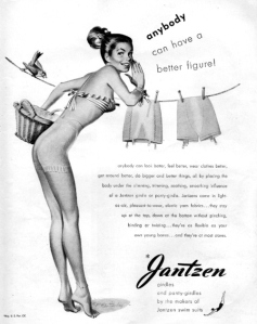 Think of it as spanx in your grandmother's time. Also, who the hell hangs up their laundry in their underwear? Not to mention, you can barely see it on her that her ass almost looks bare.
