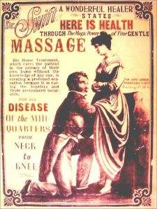Pardon me for reading too into this but this ad comes off as promoting a 19th century sex talk. Because the guy obviously has his hands up a woman's skirt. Okay, maybe it's just a doctor exam.