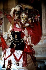 Either way, her costume is truly an ornate sight to see. Love the mask and dress.