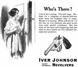So a woman needs a gun to protect herself whenever someone knocks on the door. Sorry, but if you have to be armed to answer the door, you probably need to see a therapist.