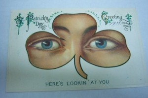 Because nothing says Saint Patrick's Day like a pair of eyes staring at you through a shamrock. Now that's very unsettling.