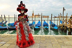Since Venice is a canal city, gondolas are a major form of transport. Nevertheless, she looks pretty.