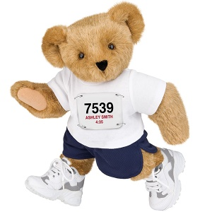 Yes, this is a marathon bear. And he has on his little number to show for it.