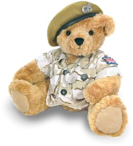However, as customary for British war bears, he doesn't wear pants. Yet, he looks dashing in his beige beret.