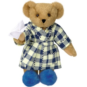 I'm sure seeing the sight of this bear will make you feel better. Nice how the robe and slippers match.