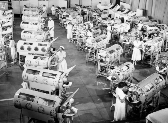 Iron Lungs in a Polio Ward