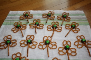 They also don't look very hard to make either. Just some chocolate, pretzels, and green M&Ms.