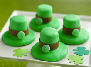 Yes, I had on leprechaun hats before. But these are in green with a gum drop at the front.