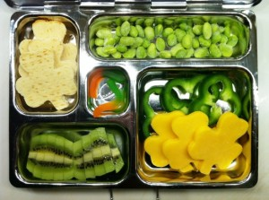 Includes green veggies and fruit of all kinds. Like the shamrock crackers and cheese though they may not be green.