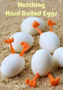 These are Hatching Hard Boiled Eggs. The legs are made from carrots, by the way.