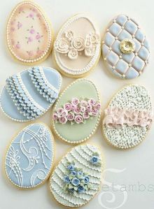 These are rather fancy sugar cookies of Easter eggs. Each is decorated in its own way that you can't afford them.