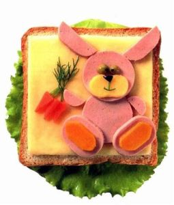 Well, it's a lunchmeat bunny with American cheese. But at least it's holding a few carrots.