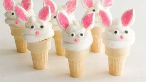 Each of these is covered in white icing with marshmallow ears. Above all, so adorable.