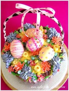 It is even filled with flowers and Easter eggs for you to see. Though I wouldn't eat the handle.
