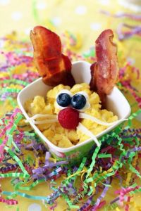 Well, this is an Easter Bunny eggs and bacon dish. But we all know where the eggs come from.
