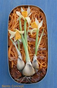 Well, these certainly resemble daffodils among a background of pasta. Love this.