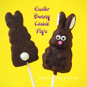 It's even made to resemble a chocolate bunny on a stick. And there's even a back view for the fluffy tail.