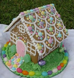 And you thought gingerbread houses were just for Christmas. Nice that it has some chocolate Easter eggs among the pastel colors.