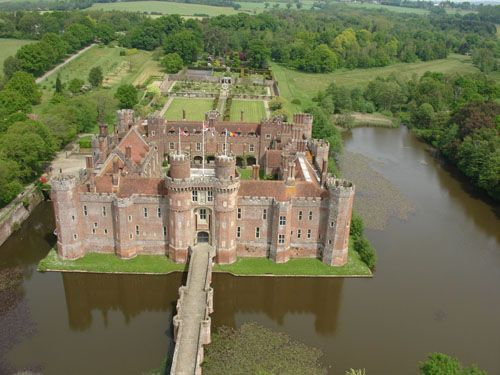 herstmonceux castle from the air